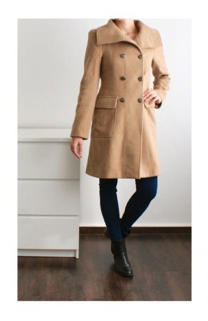 Zara Heavy Pea Coat multicolored wool