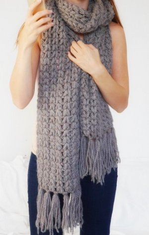 Knitted Scarf grey brown wool