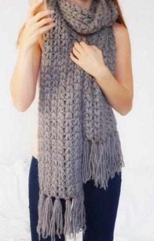 Gebreide sjaal grijs-bruin Wol