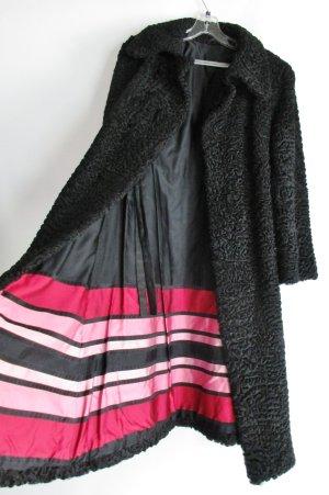 Langer Zaren Pelz Mantel Persianer Pelz Ebbinghaus Wuppertal Größe S 36 Schwarz Pink Rosa Streifen Elegant