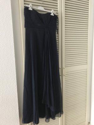 Langes Abendkleid dunkelblau trägerlos
