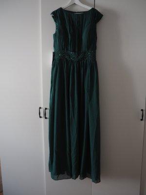 langes Abendkleid in Größe 42/44 von JJs House dunkelgrün mit Paillettengürtel