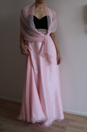 Langes Abendkleid in rose-schwarz