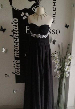 Langes Abendkleid Schulterfrei Schmucksteine Maxi Dress Kleid
