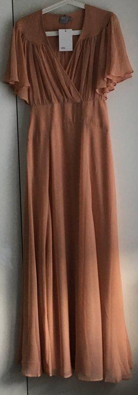 Langes Apricot Chiffon Kleid