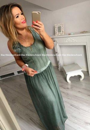 Langes Blogger Kleid Bodenlang Schnürung Cut Out sexy Rücken Sommerkleid Abendkleid Partykleid Festival Khaki passt bei S-XL + den SCHMUCK  verkaufe ich auch