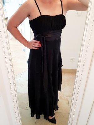 Langes Chiffonkleid Abendkleid Ballkleid mit Volants aus Chiffon schwarz