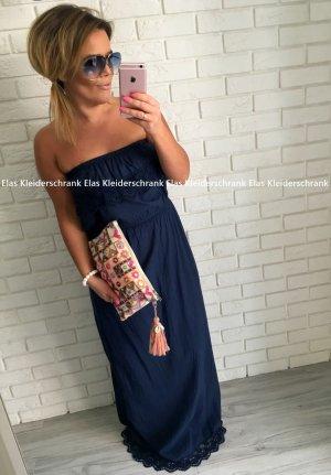Langes Damen Kleid Häkel Spitze Bandeaukleid Standesamtliche Hochzeit Maxikleid Einteiler Sommerkleid Abdkleid Cocktailkleid Blau passt bei S-L