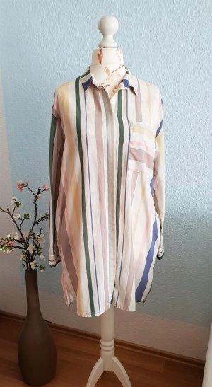 langes,gestreiftes oversized Hemd, Hemdkleid, Blusenkleid von H&M