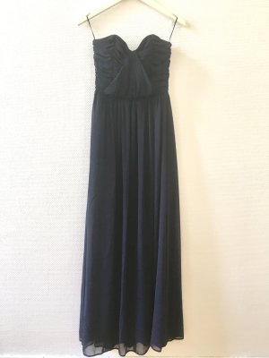 Langes Kleid aus Chiffon, dunkelblau