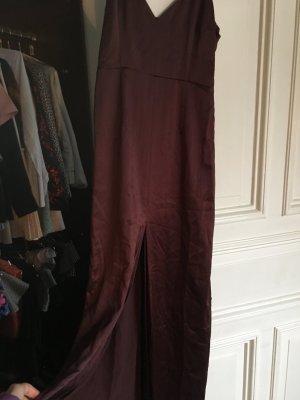 Langes Kleid Ballkleid Abendkleid Cocktail Abi Feier  Aubergine rot Seide fließend beinschlitz