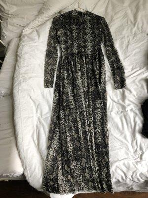 Langes Kleid Schlange schlangenmuster Festival Boho 90er grau schwarz grün Muster tailliert hip Trend urban outfitters lang schick