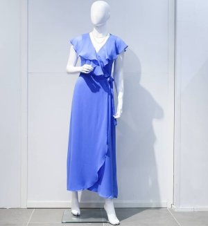 Langes Kleid Vero Moda hellblau Wickelkled Gr. M (38) Midikleid Maxikleid