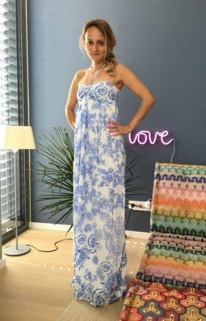 Langes luftiges Sommerkleid Gr.36 blau weiss, Maxikleid