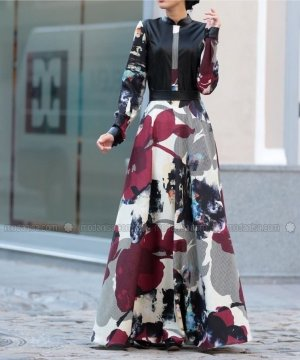 Langes Maxi Kleid Elbise Bordo Selma Sari Design NEU