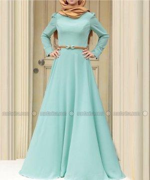 Langes Maxi Kleid Elbise Mint Zehrace Neu