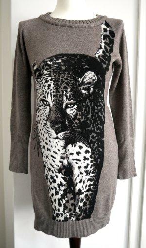 Langes Pulloverkleid von Marc Cain mit Leoparden -Print aus Seide & Kaschmir  *Neu*