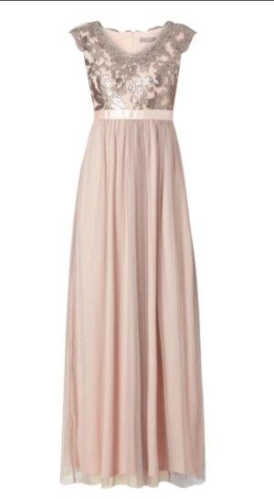 Langes rosa silbernes Abendkleid