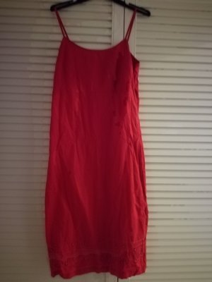 Vestido a media pierna rojo Algodón