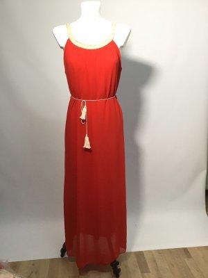Robe longue rouge-rouge brique