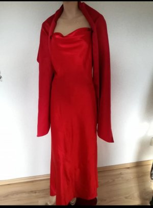Langes Satin Abendkleid mit Stola Satinkleid Kleid
