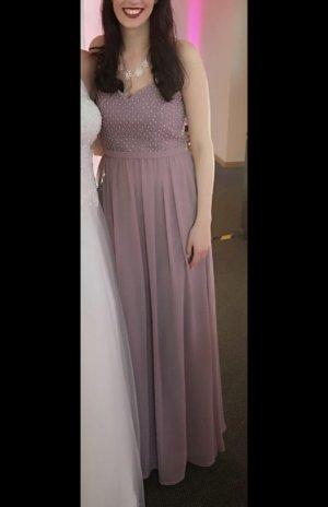 Langes schickes Kleid in flieder/taupe/rosa mit Perlen