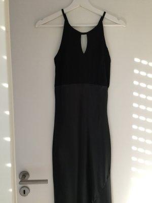 Langes schmales Abendkleid Satin schwarz S