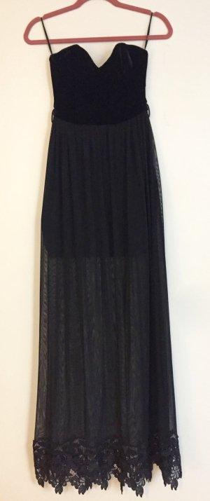 Langes schwarzes Samtkleid von Topshop