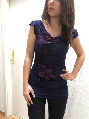 Langes Shirt mit Blumenmuster und Glitzersteinchen von Orsay Gr. M