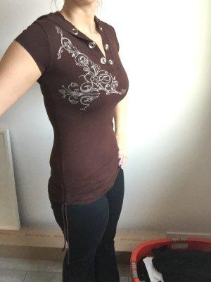 Langes Shirt mit Kapuze und Schnürung, braun