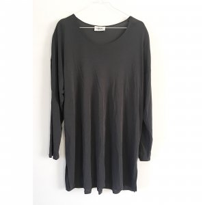 Langes Shirtkleid grau 40 42 Kleid oversize Longsleeve Dress feines Strickshirt