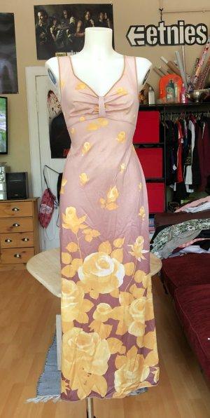 Vestido largo marrón-amarillo pálido