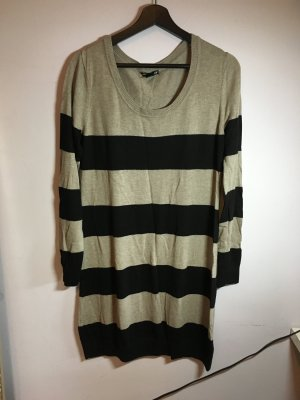 H&M Sweaterjurk zwart-beige