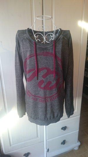 Langes Sweatshirt mit Logoprint  - innen flauschig