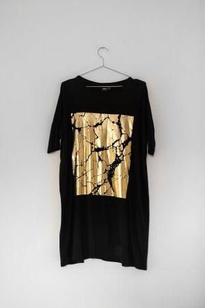 Langes T-Shirt Kleid mit Gold Applikation