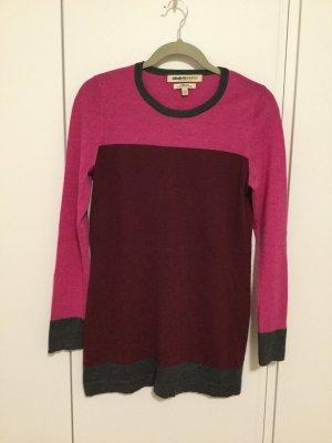 Langes warmes Merinowolle Pullover Bordeaux Pink Rot Größe L