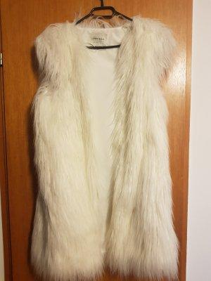 Zara Fake Fur Vest white