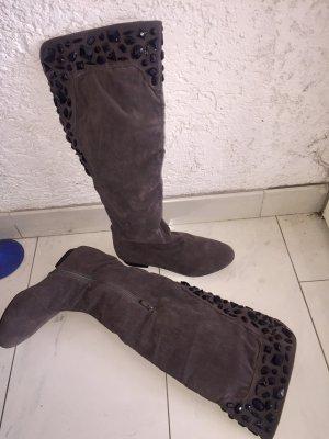 Langschaft Stiefel mit Glitzer Steinchen in Samtoptik