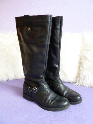 Langschaft Stiefel Schwarz Leder Gr. 41