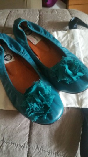 Lanvin Foldable Ballet Flats cadet blue leather