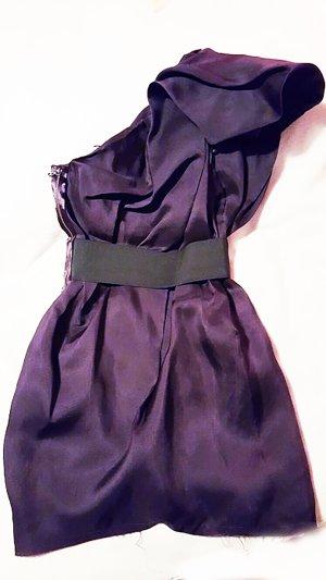 Lanvin for H&M Cocktailkleid Lila Aubergine kurzes Kleid Oneshoulder 38 S M