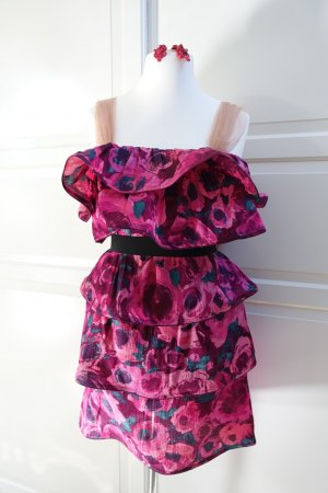 LANVIN for H&M Kleid, EUR 42, pink, Blumen, mit roten Lanvin for H&M Ohrringen