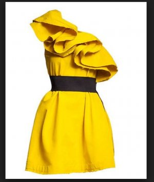 Lanvin for H&M Vestido de un hombro amarillo-negro Seda
