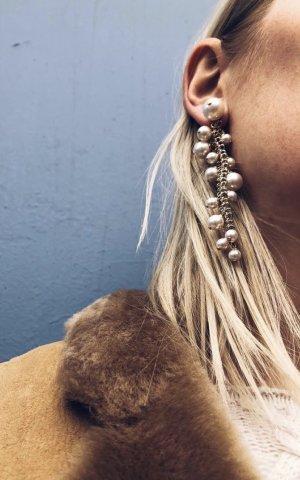 Lanvin Perlenohrringe Ohrringe aus Kunstperlen und Gold Ohrhänger 9 cm