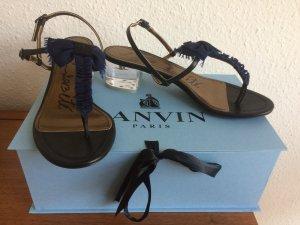 Lanvin Sandalo con cinturino e tacco alto blu scuro-nero Pelle