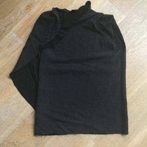 Lanvin Top mit einem Cape Ärmel in schwarz aus Viskose Seide Wolle