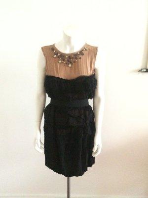 Lanvin x H&M Seidenkleid Gr.36 Abendkleid Swarovski nude/schwarz Volants Blume