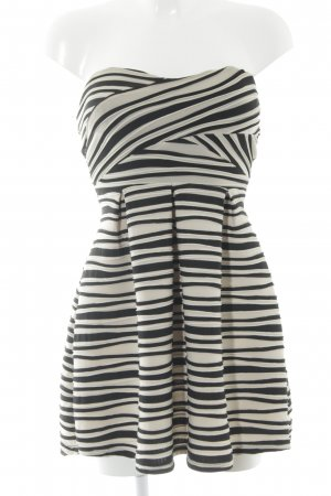 Laona A-Linien Kleid hellbeige-schwarz Streifenmuster Party-Look