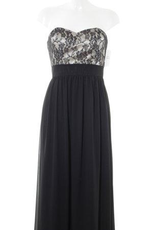 Laona Abendkleid schwarz-hellbeige florales Muster Elegant