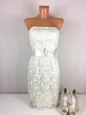Laona Bandeau Cocktailkleid Standesamtkleid Hochzeitskleid Partykleid Gr. 34/36 Creme